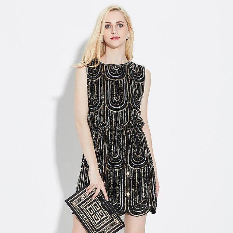 Été paillettes robe femmes O cou sans manches 2018 femmes haute couture fête Sexy soirée Midi 0922 robe vestedido de festa B387