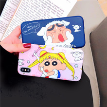 Cute Cartoon Phone Cases For iPhone 7 8 6 6S Plus Case Silicone Crayon Shin-chan Soft IMD Back Cover Case For iPhone X XS MAX XR цена и фото