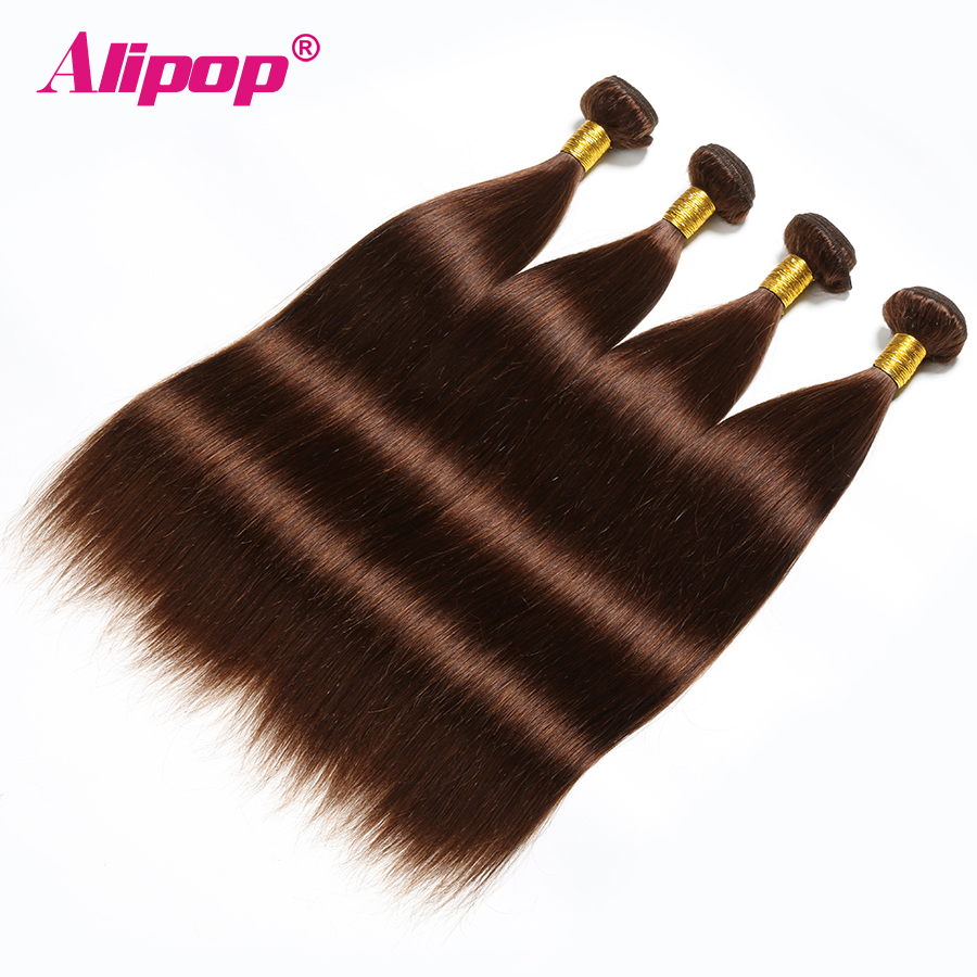 Light Brown 4 Bundles Straight Hair Bundles Peruvian Hair 4 Colored Human Hair Bundles Non Remy