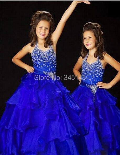 Christmas Blue Halter   Flower     Girl     Dress     Girl   Skirt Princess Skirt Party Skirt Pageant Skirt Custom SZ 2 4 6 8 10 12 14