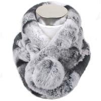 Valpeak Women Scarf Winter 2018 Brand Luxury Knitted Female Real Rex Rabbit Fur Scarf Collar Warm Neck Color Pompoms