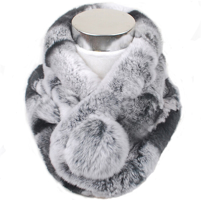 Valpeak Women Scarf Winter 2018 Brand Luxury Knitted Female Real Rex Rabbit Fur Scarf Collar Warm Neck Color Pompoms