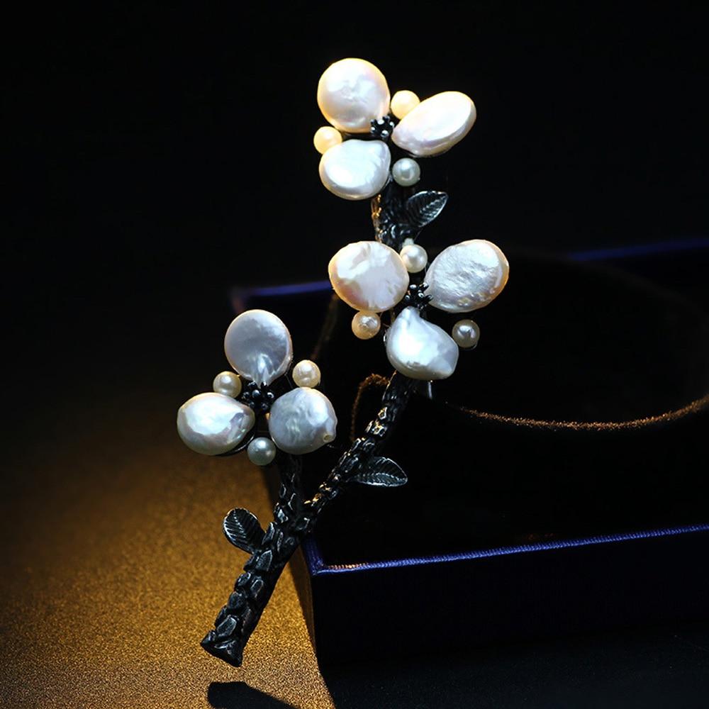 JUJIE Luxus Perlen Blumenbroschen Weibliche Pflanze Kleid Accessoires - Modeschmuck - Foto 4