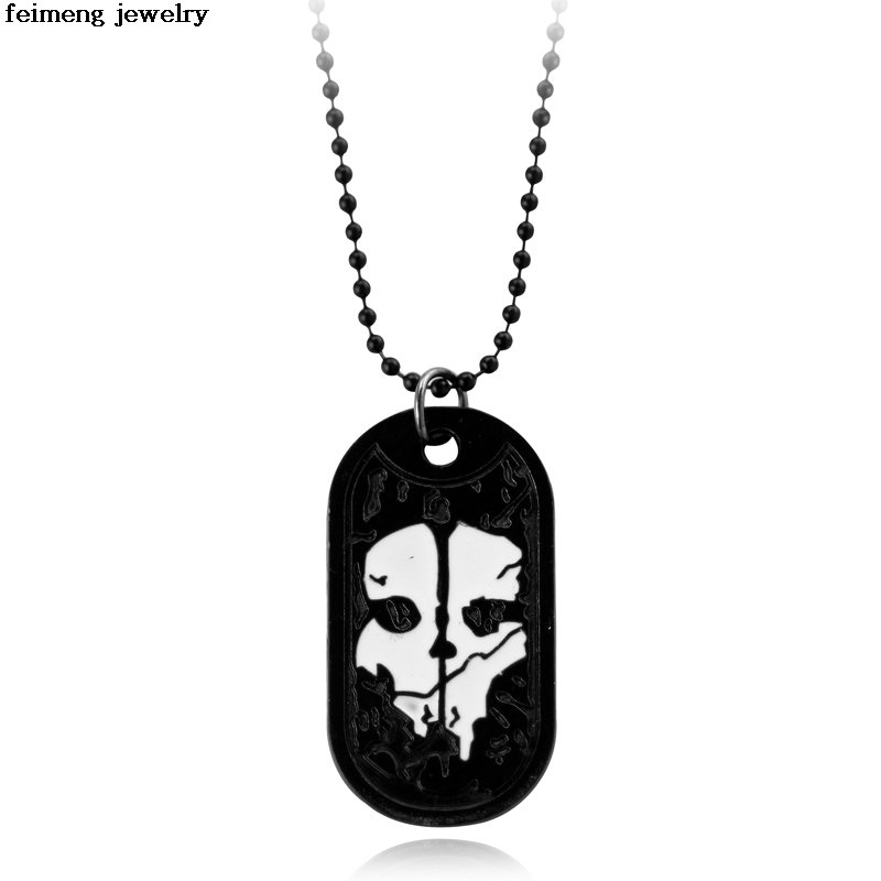 COOL Dog Tag Call Duty Ghosts Pendant Necklace Cosplay Titanium Steel Chain High Quality Gift For Fans Movie Jewelry Wholesale