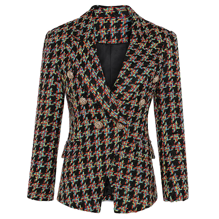 Tweed Blazer Woman Spring Autumn 2019 New Office Elegant Short Blazer Women Double Breasted Plaid Blazer Jacket Ladies Overcoat
