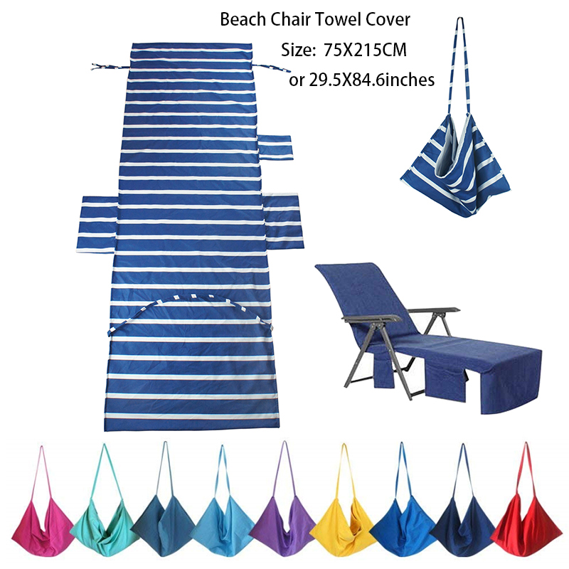 75X215CM Beach or Pool Lounge Chair Towel Cover with Convenient Storage Pockets пляж на самуи