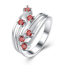 2014 fashion 925 sterling silver set six Shining red diamonds ring  Wedding wholesales