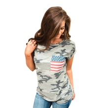 Summer Lady Tops Women Flag Printed Short Sleeve T-shirt With Pocket Casual Female T-shirt Tees Top