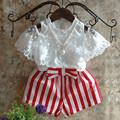 Kids Clothes Girls Clothing Set White Off Shoulder Lace Princess Top+Striped Shorts 2pcs Set Girls Outfits Toddler Girl Clothing