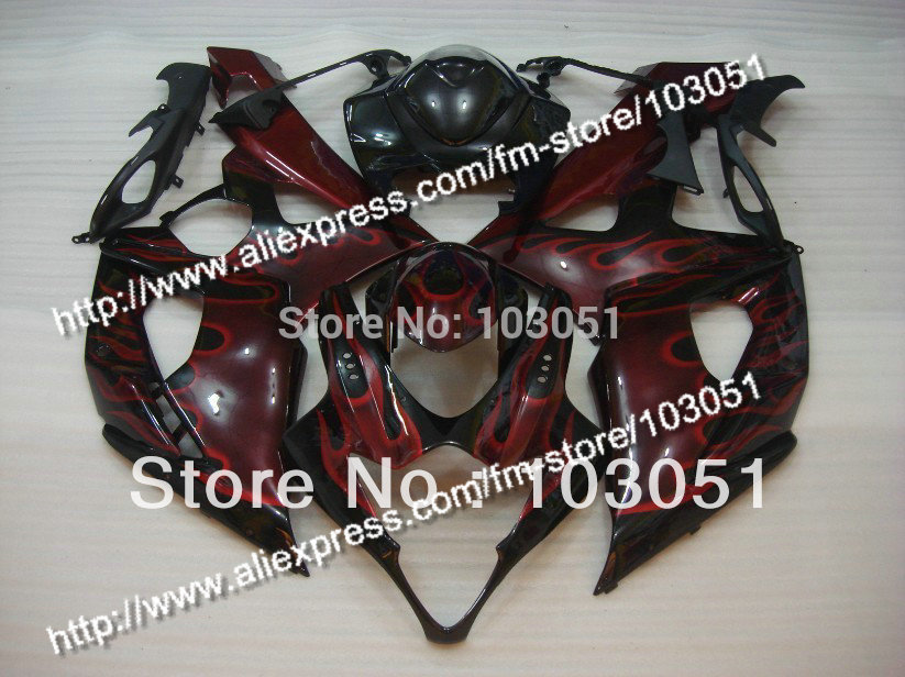 Injection bodywork for 2005 suzuki gsxr 1000 fairings K5 2006 GSXR 1000 fairing 05 06 red flame in glossy black HM88 injection mold custom for 2005 suzuki gsxr 1000 fairings k5 2006 gsxr 1000 fairing 05 06 glossy dull red with black dw10