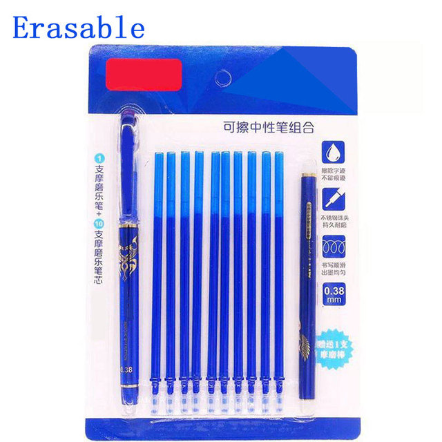 DELVTCH 0.5MM Erasable Suit Gel Pen Blue/Black Ink Magic Erasable Pen Refill and Pen Set For School Student Office Writing Tools 3
