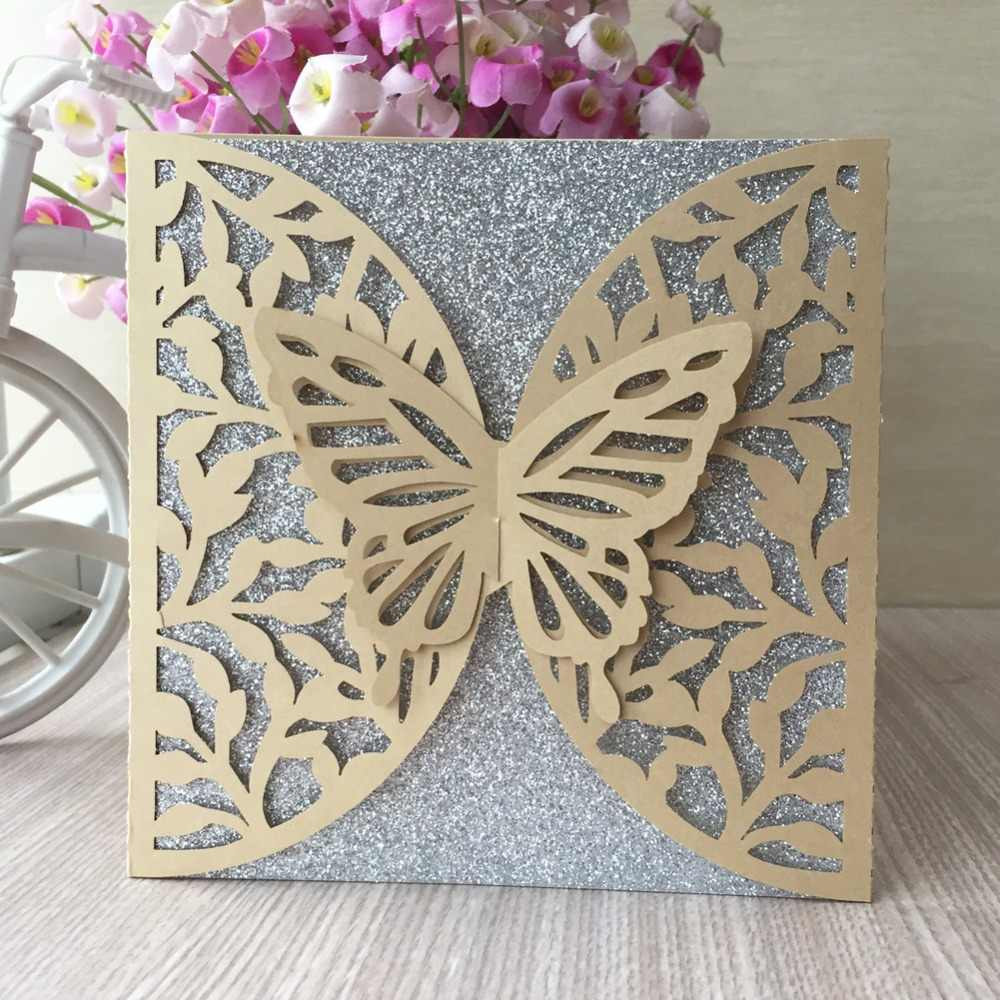 30Pcs Laser Cut Hollow Pearl paper Pretty 3D Butterfly Design Romantic  Birthday Wedding Invitation Card Greeting Blesing card| | - AliExpress