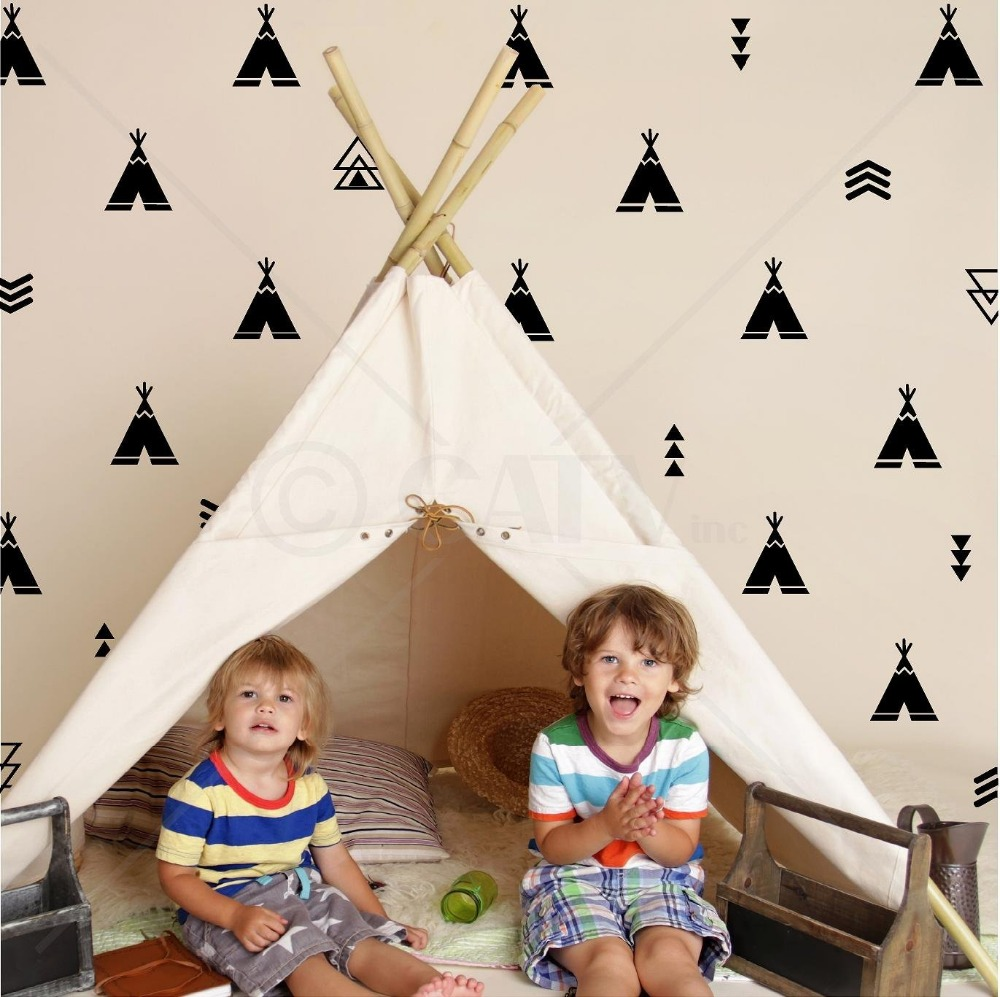 Set 68 Decimal Tribal Teepee arrow kids room wall decal sticker wallpattern adesivo de parede Mural Nursery Decoration D498
