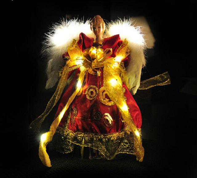 free shipping red vintage lighted christmas decoration angel christmas tree topper lighted angel 3121cm