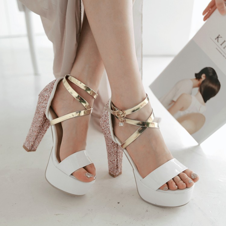 ФОТО 2017 Summer Sexy Girl Gladiator Cross Shiny Crystal PU leather Platform High Heels Women Sandals Peep Toe Woman Wedding Shoes