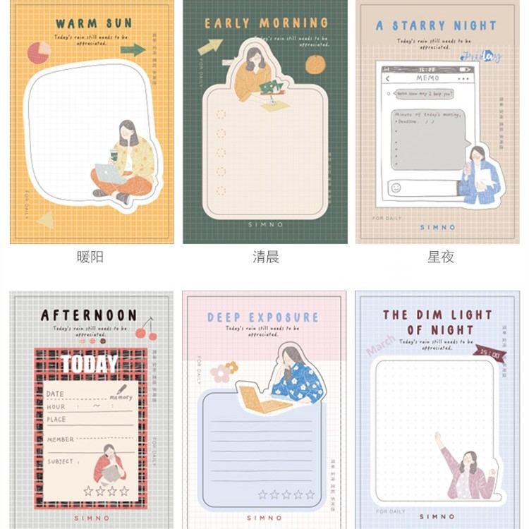 30 Sheets/pad Hello Afternoon Diary Memo Pad Sticky Notes Bookmark Students Planner Stickers Office School Supplies
