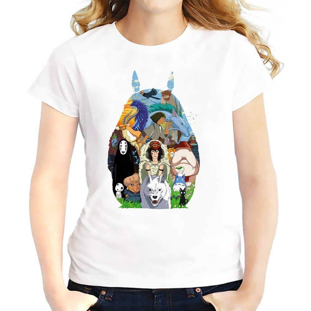 JAPAN cute totoro FUNNY t shirts WOMEN fashion white casual Tee shirt femme kawaii tshirts harajuku girls t-shirt