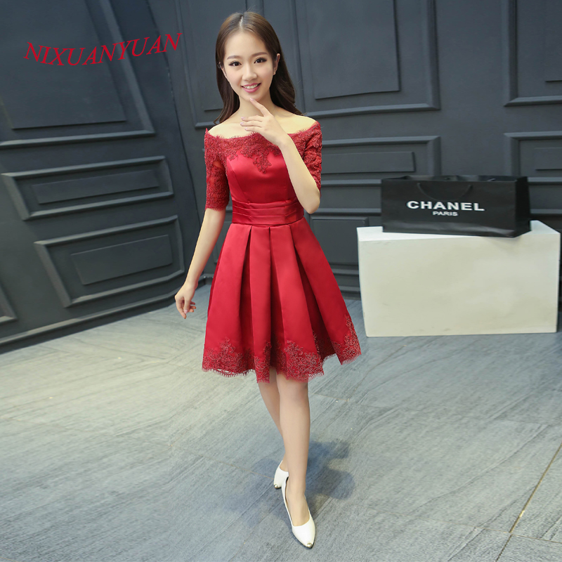 NIXUANYUAN 2017 New Custom Made Charming A Line Party Gown Red Appliques   Cocktail     Dress   2017 Half Sleeve vestidos de   cocktail