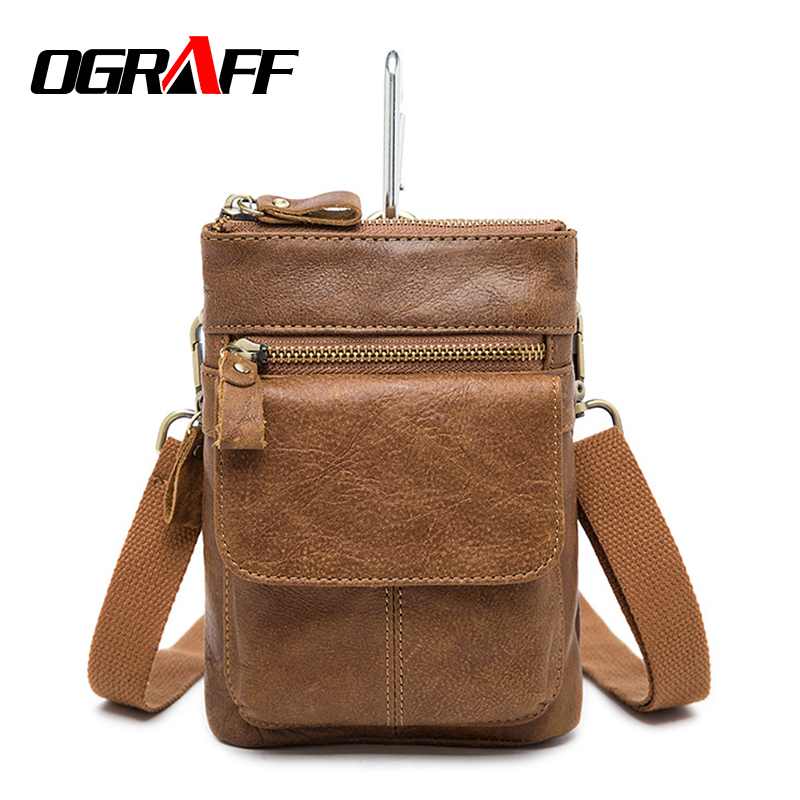 OGRAFF Small Handy Male Pouch Belt Purse Bag Genuine Leather Men Waist Bag Cell Phone Bum Waist Pack mini men shoulder bag 2017