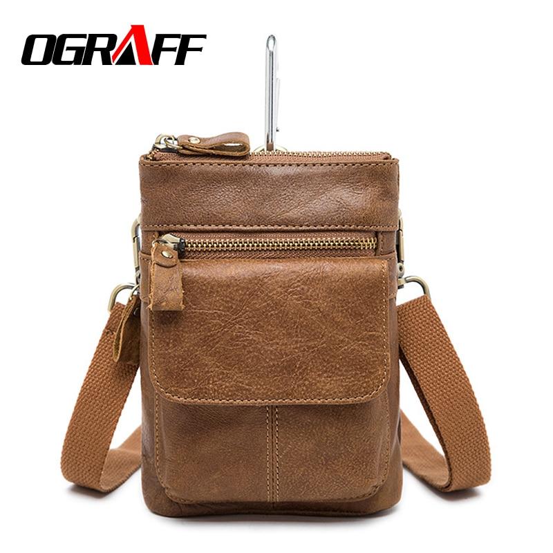 OGRAFF Small Handy Male Pouch Belt Purse Bag Genuine Leather Men Waist Bag Cell Phone Bum Waist Pack mini men shoulder bag 2017