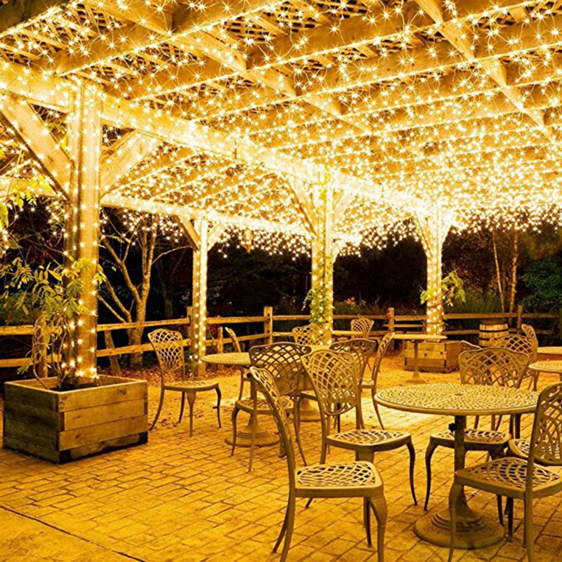 100 Leds Solar 8 Function Icicle Curtain String Lights Christmas Garland  Lines Indoor Outdoor Garden Party Decorative Light