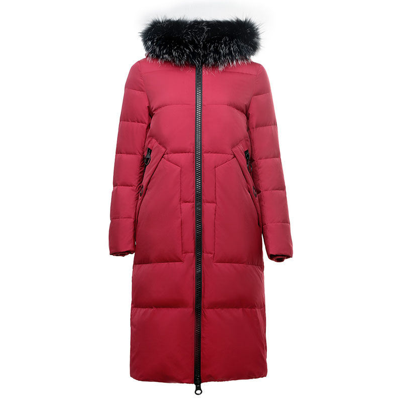 2019 autumn thickening warm winter   down   jacket women detachable real raccoon fur collar hooded   down     coat   outerwear plus size