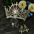 2016 Giant Miss Universe Queen Regal Sparkly Rhinestones Gold Plated Tiaras And Crowns Iris Bride Bridesmaid For Girls