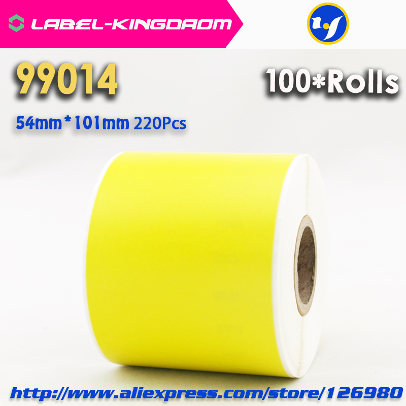 100 Rolls Dymo 99014 Yellow Color Generic Label 54mm 101mm 220Pcs Compatible for LabelWriter 450Turbo Printer