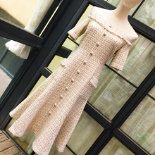 Chic women's high quality plaid tweed dress 2019 autumn elegant off-shoulder dre