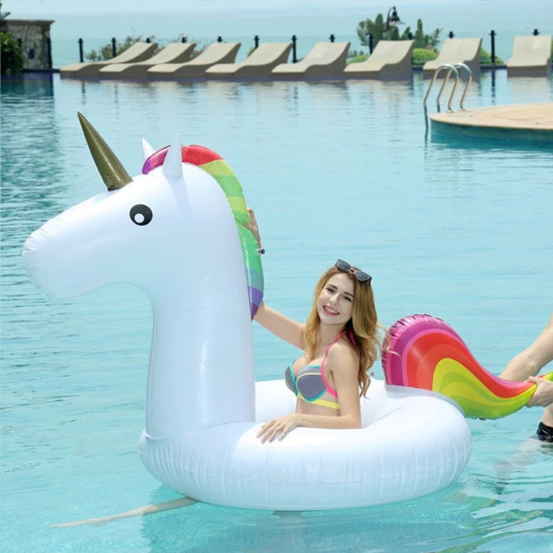 120*90CM Medium Size Unicorn Beach Circle Float Opblaasbaar Childrens Pool Swimming Ring Teenager Summer Boia Piscina Party Toy