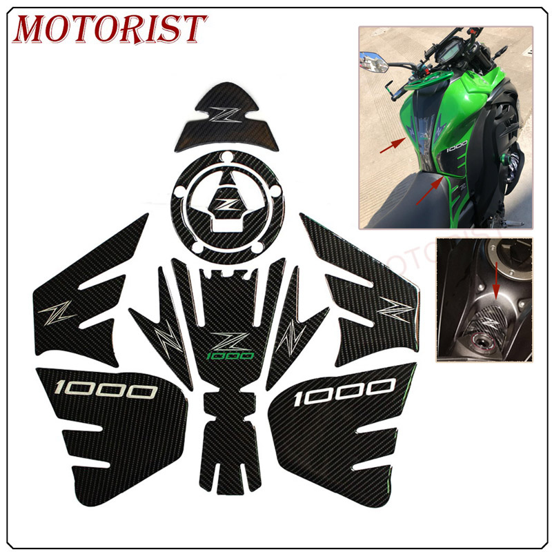 MOTORIST 3D carbon fiber Sticker Decal Emblem Protection Tank Pad Cas Cap For Kawasaki Z1000 KAWASAKIZ1000 Z <font><b>1000</b></font> image