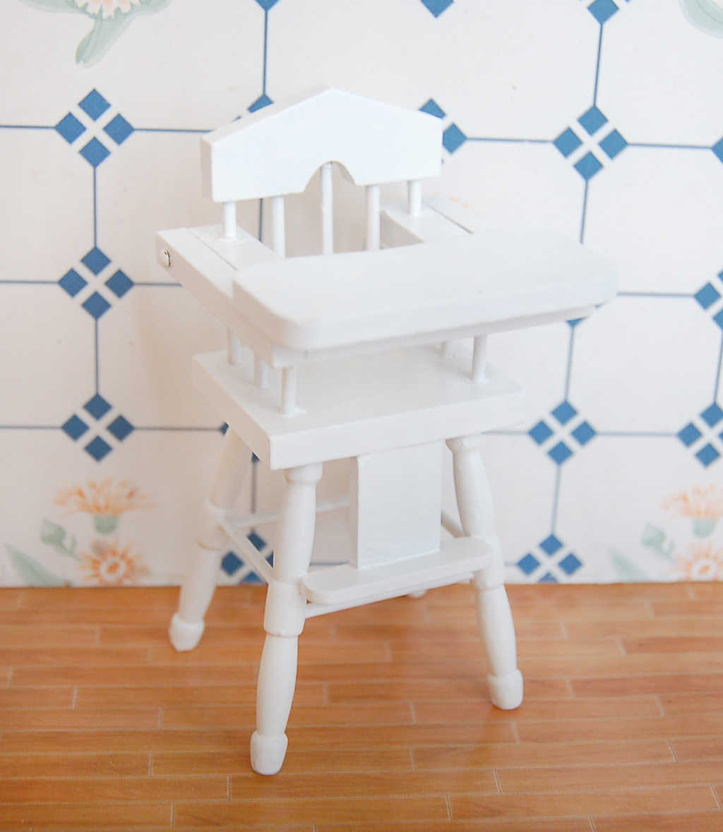 New Dollhouse Miniature Furniture Wooden Baby Bedroom set 1/12 White Doll House Decoration Dolls Accessory Classic Toy for Child