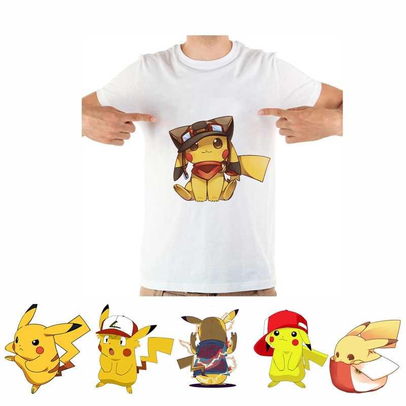 Divertido Pikachu lindo fresco patrón de dibujos animados arte impresión verano ocio moda Mashup cuello redondo Camiseta de los hombres