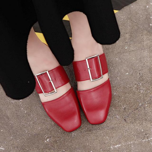 SLHJC 2017 Summer Sandals Medium Heel Square Toe Leather Pumps Fashion Design Wide Heel Lady Pumps Shoes 4.5 CM