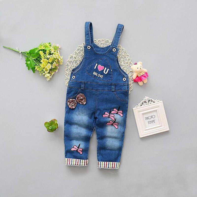 ExactlyFZ Bahar Eğlence Pantolon Bebek Kız Erkek Önlük Pantolon Çocuk Yürümeye Başlayan Denim Pantolon Çocuklar Karikatür Bebek Kot