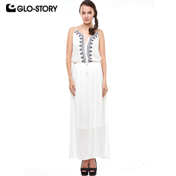 GLO-STORY 2018 Women Summer Spatti White Bohe Dress Ladies Elegant Vintage Embroideried Maxi Beach Dresses Femme Vestidos 1628 image