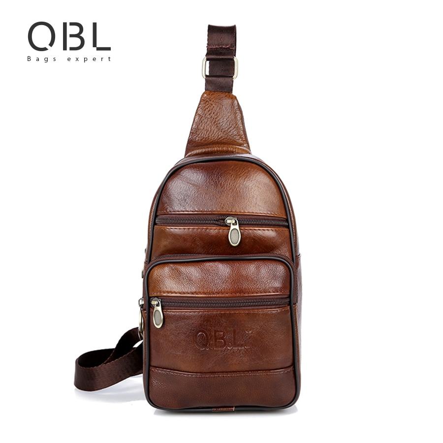 QiBoLu Cow Genuine Leather Mens Sling Bag Single Shoulder Bag Men Chest Crossbody Bag Waist Pack