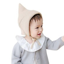 Winter Comfortable Newborn Unisex Girls Boys Caps Lace-Up Solid Color Baby Bonnet For New Steeple Witches Knitted Warm Hats