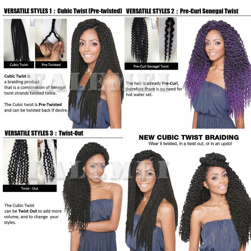 3d Cubic Twist Crochet Braids Hair Extensions Ombre Braiding Crochet