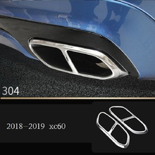 Car-styling new 2018 2019 for Volvo xc60 modified tail throat decorative box four stainless steel exhaust pipe trim cover