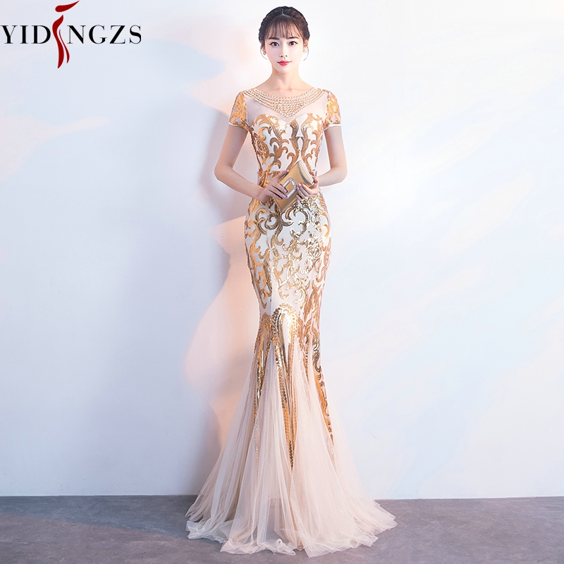 YIDINGZS Gold Sequins Party Formal   Dress   Short Sleeve Beads Sexy Long   Evening     Dresses