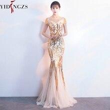 YIDINGZS altın Sequins parti resmi elbise kısa kollu boncuk seksi uzun abiye YD089