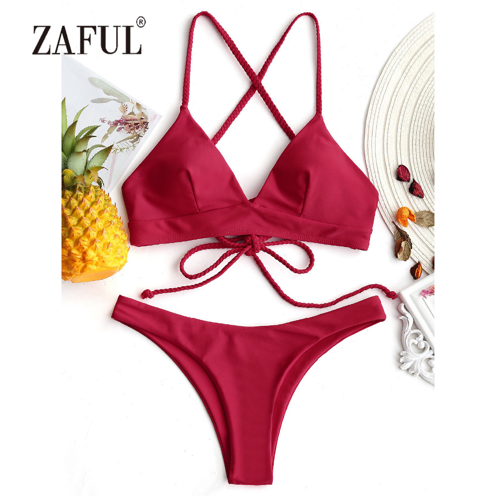 ZAFUL Cross Back Bikini Plaited Cami Women Swimsuit Thong Bottom Bikini Set Sexy LowWaist Swimwear Solid Padded Biquni Beachwear knot back scallop trim bikini set