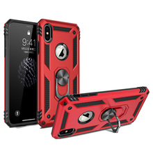 For Apple iPhone Xs Max Case Dual Layer Military Armor Magnetic Ring Stand Slim Shockproof Hard Cover for