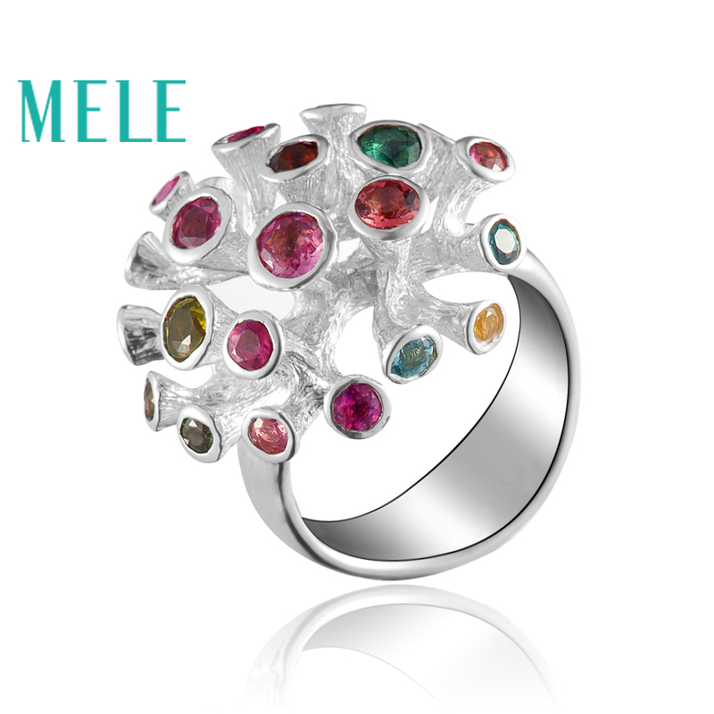 Natural colorful gemstone silver ring tourmaline amethyst citrine special design fashion and popular 21mm for whole