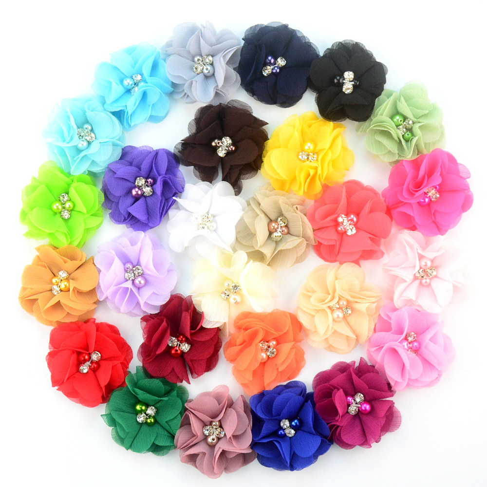 200pcs lot 28 Colors DIY Chiffon Flowers with pearl and rhinestone Fabric Flowers for woman headbands