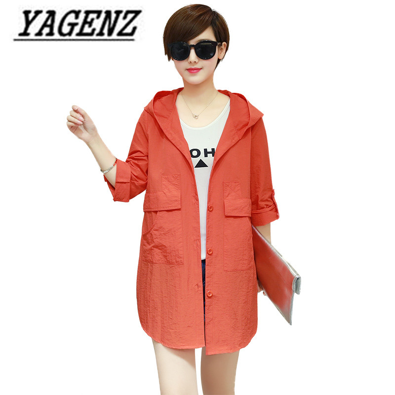 Coat Jackets Sunscreen-Shawl Windbreaker Hooded Korean Women's Summer Casual Thin 6XL