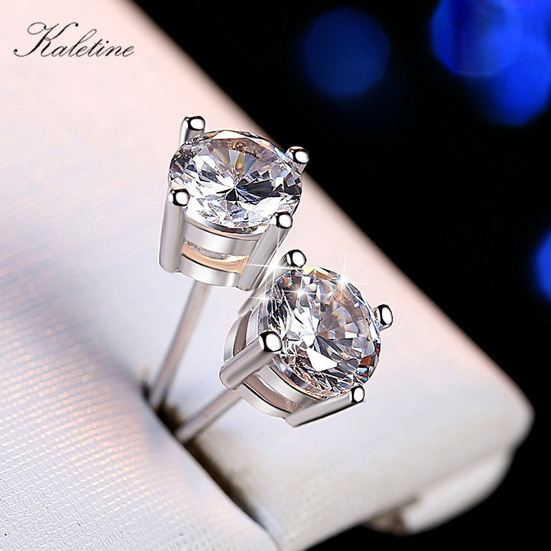 Genuine 925 Sterling Silver 5mm 6mm 7mm 8mm Clear Zirconia Solitare Round CZ Crystal Stud Earrings KLTE002-Clear