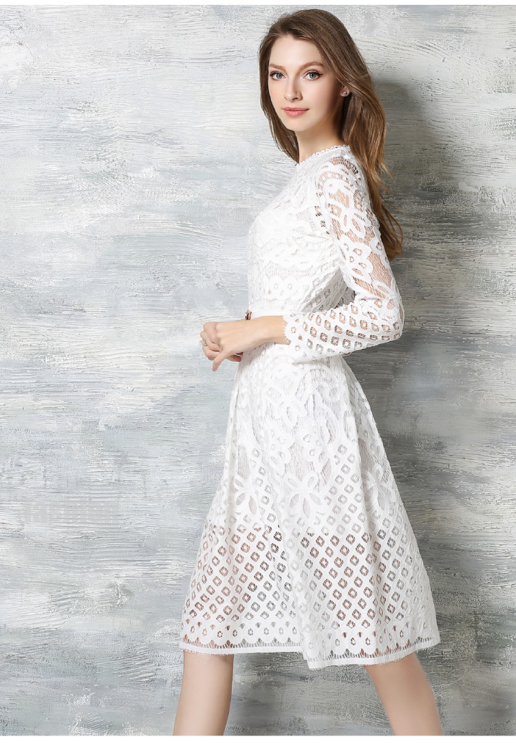 Lace Dress 2017 Spring Summer New Fashion Runway Luxury Long Sleeve Knee Length Black White In Dresses From Women S Clothing Accessories On