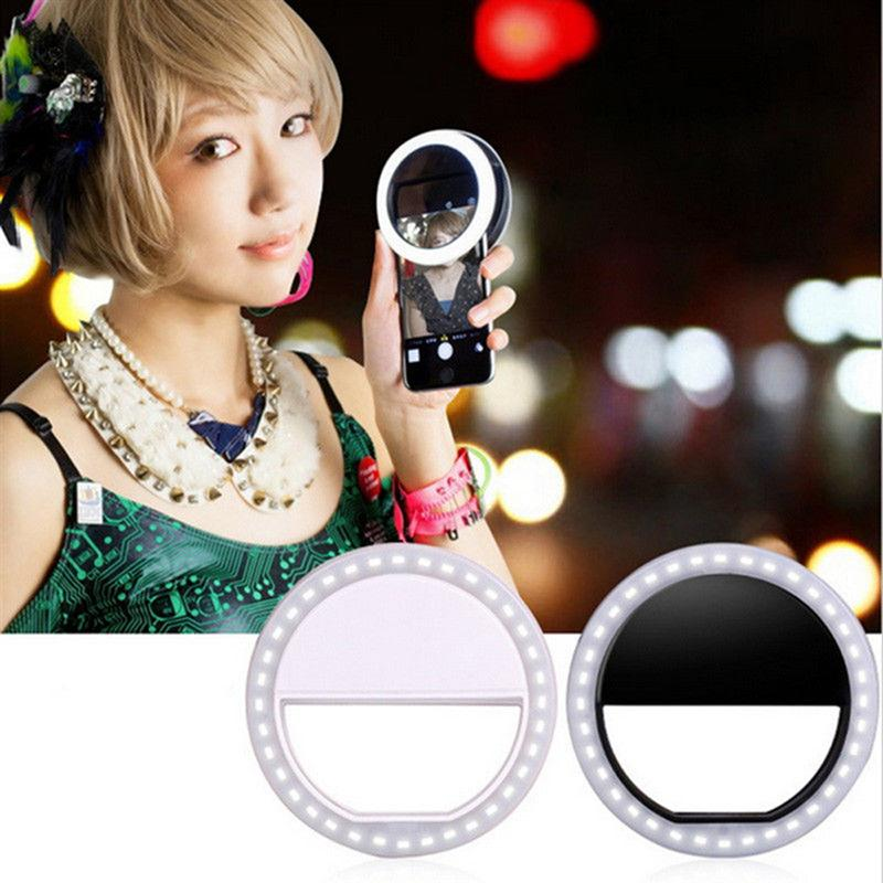 Universal Selfie LED Ring Flash Fill Light Clip Camera Enhancing Photography For IPhone Android Phone Pink White Black zea qjsyy235 universal clip style 235 degree fisheye lens for iphone ipad more white black